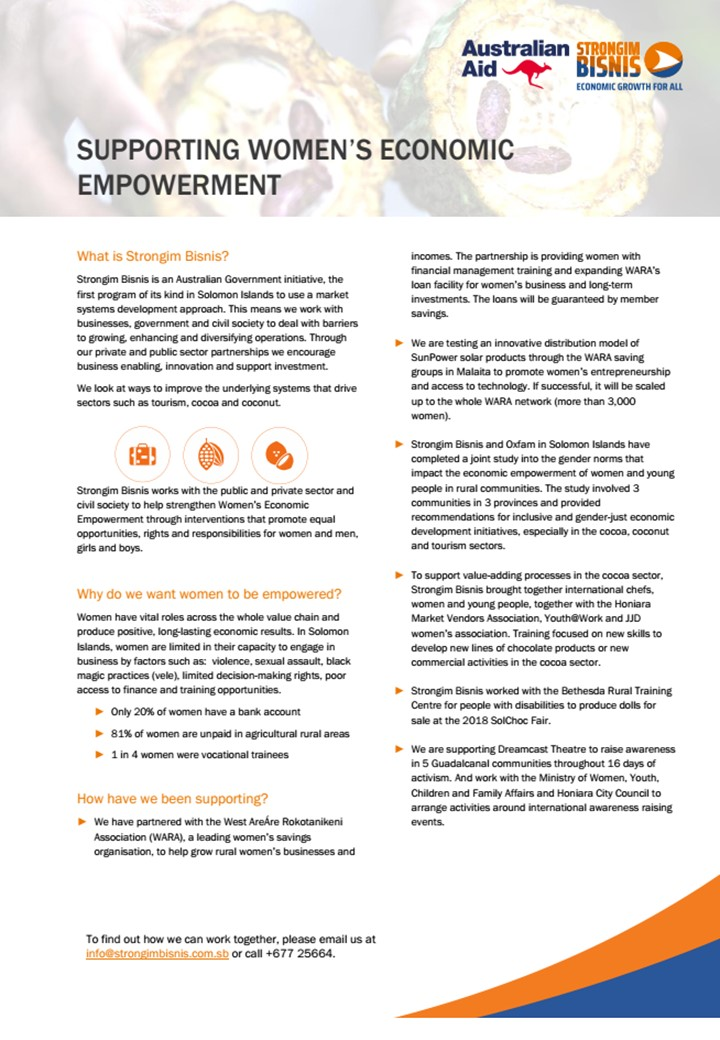 Our Work in Women's Economic Empowerment